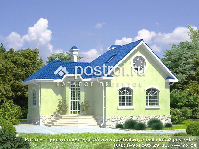 Двухэтажный каркасный дом 66 с террасой и мансардой под